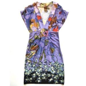 Ali Ro Empire Waist Dress 4 Purple Silk VNECK MINT